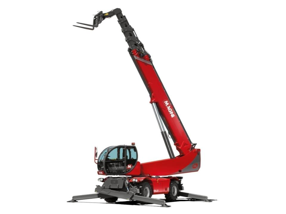 The RTH 6.39 is a rotating telescopic handler designed for use with heavy and bulky loads.